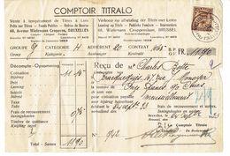 """Reçu Du Comptoir Titralo Au Nom De Charles Botte, Rue Monoyer, Bracquegnies (24/9/1933) + Timbre 341 """"Albert Casquette"""" - Actions & Titres"""