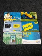 India  Six Diff. Used Phone Card - India