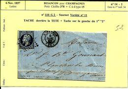 Lettre 6 Nov 1857  Besançon Pour Champagney  GC 378 N°52 - 1853-1860 Napoléon III