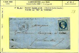 Lettre 1 Juill 1868 Labouheyre Pour Dax GC 1909 N°53 - 1863-1870 Napoleon III With Laurels
