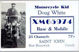Biker Very Old QSL From Motorcycle Kid Doug White XM65974 Saint John NB Canada 4/1968 - CB