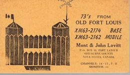 Very Old QSL From Old Fort Louis XM63-2174 Mont & John Lovitt, Port Latour NS Canada 8/1968 - CB