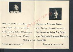 FAIRE PART ILLUSTRÉE DE FIANÇAILLES DUCERF AVIATEUR À SIMONE BROTTES VALENCE BROU 1951 : - Fiançailles