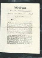 Discours Prononcé Par Henri Lesergeant Président Collège Du 6 è Arr. Electoral Pas De Calais Sous Louis Philippe - Documenti Storici