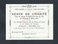 FAIRE PART VENTE DE CHARITÉ LYCÉE MOLIÉRE RUE DU RANELAGH PARIS 1935 : - Engagement