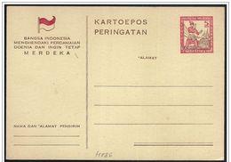 Indonesia/Indonésie: Intero, Stationery, Entier. Indipendenza, Independence, Indépendance - Storia
