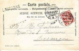 """CACHET LINEAIRE DE """" LAUSANNE """" SUR CARTE POSTALE - 1902 - DOS UNIQUE , LAUSANNE CITE VUE DE LA SOLITUDE - Poststempel"""