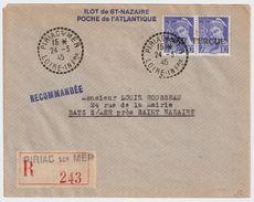 1945, St. Nazaire, Lettre Recommandee  , #8325 - Marcophilie (Lettres)