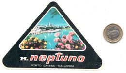ETIQUETA DE HOTEL   -HOTEL NEPTUNO  -PORTO CRISTO - Hotel Labels