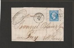 LAC - Ardèche - 1866 - Annonay GC113 Sur N°22 Vers Le Puy (Haute-Loire)  Correspondance Laurent Bechetoille - Marcophilie (Lettres)