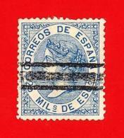España. Spain. 1868 (o) Edifil 97. Isabel II. 25 Milesimas. Azul - Usados