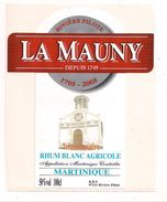 Etiquette  RHUM Blanc Agricole   - La Mauny - Tricentenaire  - Rivière  Pilote - Appellation  MARTINIQUE Contrôlée - - Rhum