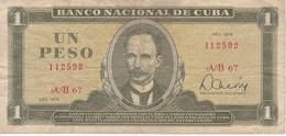 BILLETE DE CUBA DE 1 PESO DEL AÑO 1978 (BANK NOTE)  JOSE MARTI - Cuba