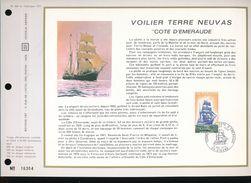 """Feuillet  C.E.F. 1er Jour -- France 1972  -- N° 200  --  Voilier Terre Neuvas """" Cote D'Emeraude """" - FDC"""