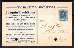 ESPAÑA 1928.TARJETA COMERCIAL JOAQUIN LLACH ROCA . CIRCULADA DE BADALONA   A MALAGA. CECI 11 - 1889-1931 Royaume: Alphonse XIII
