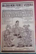 """Partition """"Un Jour Mon Prince Viendra"""" Walt Disney Blanche Neige Paroles Larry MOREY Musique Franck CHURCHILL - Partituras"""