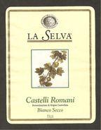 ITALIA - Etichetta Vino CASTELLI ROMANI Doc Cantine LA SELVA Bianco Del LAZIO - Witte Wijn