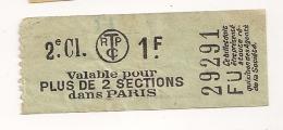 TICKET TCRP  2EME CLASSE 1FVALABLE POUR 2 SECTIONS DANS PARIS CPA636 - Tram