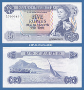 1967 MAURITIUS  5 RUPEES  Q.E. II  SAILBOAT 1ST. LANDING MONUMENT  KRAUSE 30c  EXCELLENT ALMOST UNC. CONDITION - Maurice