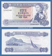 1967 MAURITIUS  5 RUPEES  Q.E. II  SAILBOAT 1ST. LANDING MONUMENT  KRAUSE 30c  EXCELLENT ALMOST UNC. CONDITION - Mauritius