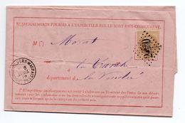 """1870 - """"CHARGEMENTS DONT LES EXPEDITEURS DEMANDENT A CONNAITRE LE SORT"""" TàD NAPOLEON VENDEE + LES MOUTIERS GC 2570 - Postmark Collection (Covers)"""