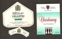 ITALIA - 2 Etichette Vino VELLETRI E CHARDONNAY Cantine CONS.PRODUTTORI VINO E VILLA GIANNA Bianco Del LAZIO - White Wines