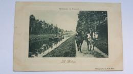 LE HALAGE Paysages De France Heliographie Chevaux Canal Nature Faune Animaux CPA Postcard Animee - Cavalli