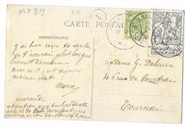 """Carte Postal Thuin  (MT29   """" CARITAS 2c Type Montald & 1 Timbre De 5 C.  Oblitération 1912 - 1910-1911 Caritas"""