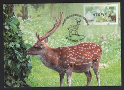 Taiwan R.O.CHINA - ATM Frama -Maximum Card.- Sika Deer #122 Black Imprint - ATM - Frama (labels)
