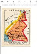 Chromo Chocolat Pupier Afrique Carte Géographique Du Cameroun Mandat Français Bafia Banyo Foumban Ayos 138/24-Q - Otros