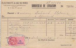 Wissel Reçu - Electricité & Gaz Du Nord - Berlaimont 1947 - Lettres De Change