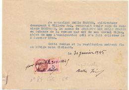 Factuur Facture - Reçu - Emile Berthe De Villers Pol -  Clotaire Bertrand Berlaimont 1945 - France