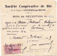 Factuur Facture - Reçu - Soc. Coop. De Blé - Avesnes Sur Helpe  -  Clotaire Bertrand Berlaimont 1943 - France