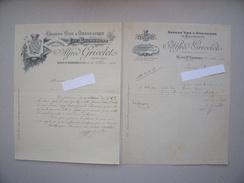 NUITS-St-GEORGES (21): Lot 2 Factures Différentes 1906 1909 - Vin Bourgogne Mousseux Champagne - GRIVELET - France