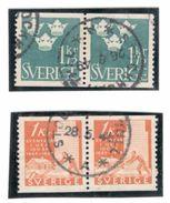 Sweden1948:Michel339A(Cat.Value18Euros) Used Pair&342Aused Pair - Suède
