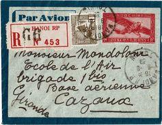 CTN49/8 INDOCHINE ENVELOPPE AVION RECOMMANDE HANOI / CAZAUX 9/8/1939 - Brieven En Documenten