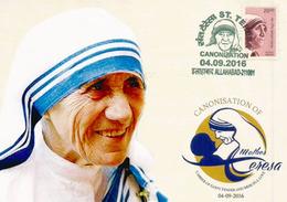 Canonisation De Mêre Teresa, 4 Sept. 2016, Carte-maximum De L'INDE (tirage 500 Ex) - Mother Teresa