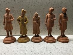INDIA 5 Antiche STATUINE TERRACOTTA ? Personaggi Indiani Alt. Cm. 17,5 Circa - Arte Orientale