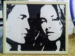Hand-made Painting Robert Pattinson And Kristen Stewart - Gouaches