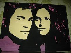 Hand-made Painting Robert Pattinson And Kristen Stewart - Oleo