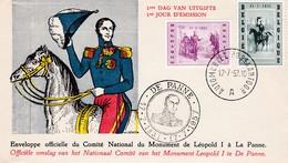 0Belgie 1020 - 1021. Officiele Omslag V/h Nationaal Comité V/h Monument Leopold I Te De Panne. Automobiel Postkantoor.+9 - FDC