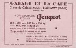 BUVARD :  Automobiles PEUGEOT Tracteur Ferguson , Garage De La Gare LONGWY - Automobile