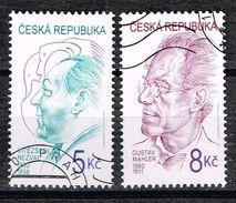 Tschechien 2000, Michel# 254 - 255 O Vítezslav Nezval (1900-1958)/ Gustav Mahler (1860-1911) - Czech Republic
