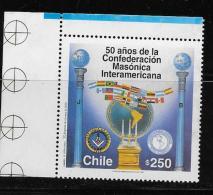 CHILE, 1987  MNH #1208  INTERAMERICAN MASONIC CONFEDERATION, 50th ANNIVERASARY  MNH - Chili