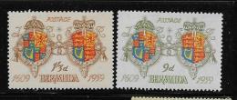 BERMUDA, 1959  MNH #173-4. ARMS Of JAMES 1 & ELIZABETH 11  MNH - Bermudes