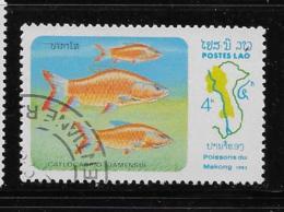 LAOS  1983, COT, # 484   FISH  CTO With Gum - Laos