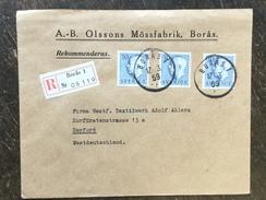 B6 Schweden Sweden Suède Sverige 1959 R-Brief Von Boras Nach Herford - Sweden