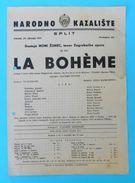 LA BOHEME G. Puccini ...Croatia Old Poster Split Theatre 1951.* Opera Classic Music Musique Musica Classica Italy Italia - Posters