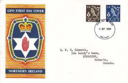 Great Britain FDC 1968 Northern Ireland Scott #8, #10 Definitives Posted To Canada - 1952-1971 Pre-Decimal Issues