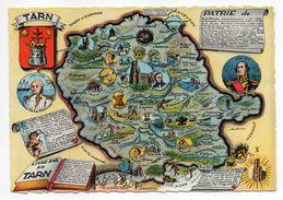 Carte Géographique Du Tarn --Patrie De ..Plan Départemental Cpsm 15 X 10 éd APA-POUX--cachet Rond CAGNAC LES MINES-81 - France
